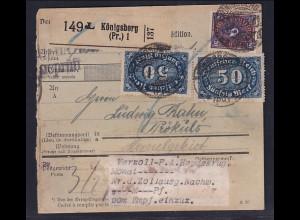 DR., Paketkarte von Königsberg nach Memel.