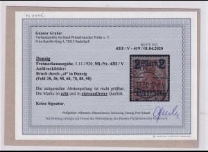 Danzig, Mi.-Nr. 43II / V, gestempelt, Befund, GruberBPP.