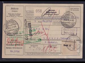 DR., Ausland-Paketkarte mit Gebühr bezahlt aus Barmen-Rittershausen/Selbstbucher