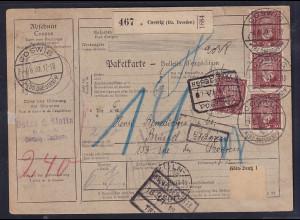 DR., Ausland-Paketkarte mit MeF. 362 y