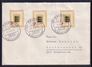 Bund, Fern-Brief mit MeF. Mi.-Nr.212 (3X).