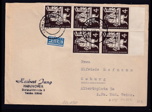 Bund, Fern-Brief mit MeF. Mi.-Nr.198 (5X)