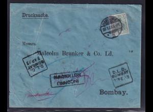 DR., Ausland-Drucksache mit EF: Mi.-Nr. 70 nach Bombay