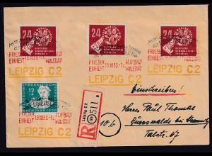 DDR. Mi.-Nr. R-Fernbrief mit MiF. Mi.-Nr. 256 + 3x275 mit Ak-St.