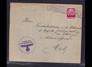 Dt.Besetzung 2.Weltkrieg,Lothringen, Fernbrief mit EF. Mi.-Nr 7, mit Notstempel.