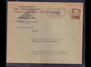 Dt. Besetzung 2. Weltkrieg, Elsaß, Drucksache mit EF. Mi.-Nr. 1