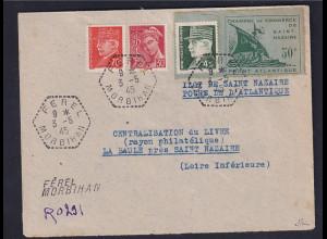 Dt.Besetzung 2.Weltkrieg Frankreich, St-Nazaire, R-Fernbrief Mi.-Nr 1