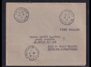 Dt.Besetzung 2.Weltkrieg Frankreich, St-Nazaire, Fernbrief mit Barfrankierung