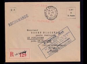Dt.Besetzung 2.Weltkrieg Frankreich, St-Nazaire, R-Fernbrief mit Freistempel