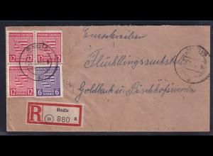 SBZ., Provinz-Sachsen R-Fernbrief mit Mi.-Nr. 79x + 76 y