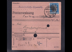 SBZ., Säch. Schwärzung, Postanweisung mit EF. AP. 791 von Chemnitz
