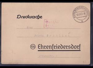 SBZ., Fernkarte mit Gebühr bezahlt Ehrenfriedersdorf