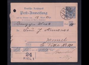 DR. Postanweisung mit Krone-Adler 20 Pf. von 1893 nach Memel