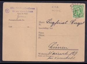 Bizone, AM Post Fernkarte mit EF. Mi.-Nr. 12 A