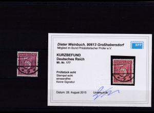 DR., Mi.-Nr. 177, gestempelt, Kurzbefund. Weinbuch