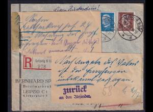 """DR., R-Ortsbrief gegen Rückschein mit Mi.-Nr. 416 +420 """"Zurück"""""""