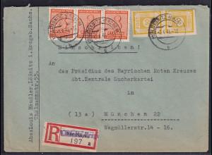 SBZ., West-Sachsen, R-Fern-Brief mit MiF Mi.-Nr. 130 y u.a.