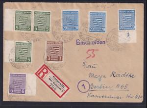 SBZ., Provinz-Sachsen R-Fernbrief mit Mi.-Nr. 74x, 75x, 81x, 76x