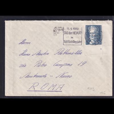 Bund, Auslandbrief mit EF. Mi.-Nr. 309 mit Formnr. 4