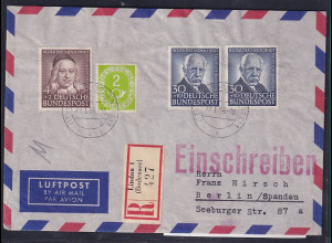 Bund, R-Lp.-Brief. mit MiF. Mi.-Nr. 123,173,176 (2X)