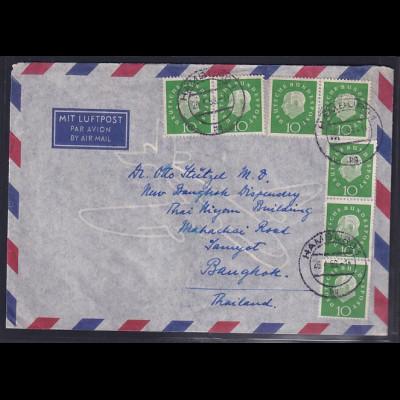 Bund, Ausland-Brief. mit MeF. Mi.-Nr. 303/303 + 303 nach Bangkok mit Ak-St.