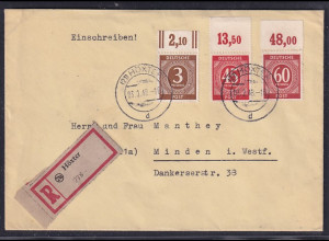 All.-Besetzung (Gemein.-Ausgaben) R-Fernbrief mit MiF. Mi.-Nr. 913,931,933 OR.