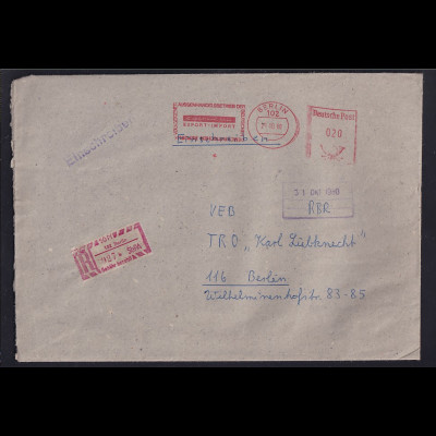 """DDR. R-Brief, mit Frei-Stempel """"Aussen-Handelsbetrieb der DDR"""""""