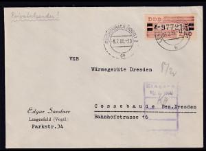 DDR. ZKD-Brief, .EF. Mi.-Nr. Dienst-B 29 Z