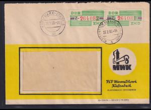DDR. ZKD-Brief, .MeF. Mi.-Nr. Dienst-B 24 Z