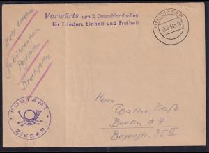 """DDR, Losungsstempel """"Vorwärts zum 2. Deutschlandtreffen......................"""""""