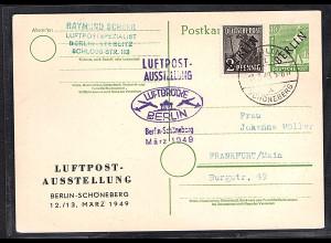 """Berlin, P 1 mit Zudruck """"Luftpostausstellung"""", gestempelt."""