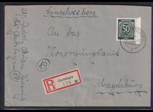 SBZ. + Gemein.-Ausgabe, R-Fernbrief, MiF, Mi.-Nr. 932 + 76 ya, 75 xa