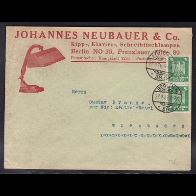DR. Reklame-Brief, Kipp-, Klavier-, Schreibtischlampen, J.Neubauer & Co.,Berlin.