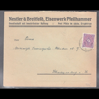DR. Reklame-Brief, Eisenwerk Pfeilhammer, Nestler & Breitfeld, Pöhla.