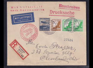 DR. Zeppelin Brief, R-Drucksache nach Ohio, portorichtig