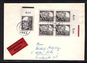 Bund , Eilbote-Fern-Brief mit MeF. Mi.-Nr. 463 mit OR. und AK-St.