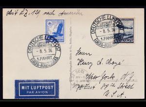 DR. Zeppelin Karte Luftschiff Hindenburg, 1. fahrt Europr-Nordamerika