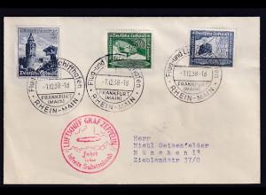 DR., Zeppelin-Karte, Fahrt in der befreite Sudetenland mit Mi.-Nr. 682, 669-670