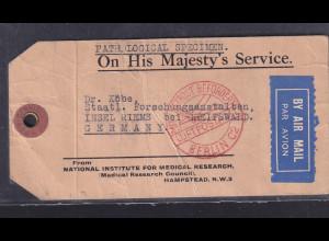 Großbritannien, Frankierte Kofferanhänger mit Luftpost nach Riems von 1933
