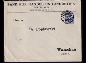 DR., Auslandbrief von Berlin nach Warschau mit Firmenlochung