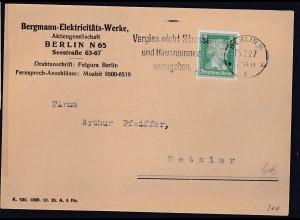 DR., Fernkarte aus Berlin mit Firmenlochung