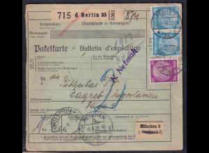 DR., Ausland-Paketkarte nach Jugoslawien mit Firmenlochung + Lagergebühr?
