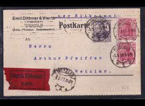 DR., Eilbote-Fernkarte aus Hamburg mit Firmenlochung