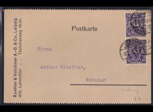 DR., Fernkarte aus Leipzig mit Firmenlochung
