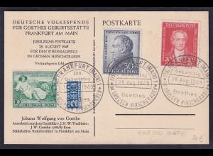 Bizone, Ereigniskarte Johann Wolfgang von Goethe mit Mi.-Nr. 108-110