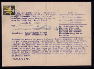 DDR. Briefmarken-Ausweis mit EF. Mi.-Nr. 613 y