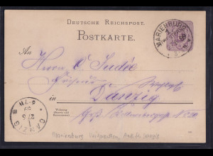 DR., Ganzsache P 10 aus Marienburg (West-Preußen) nach Danzig gelaufen.