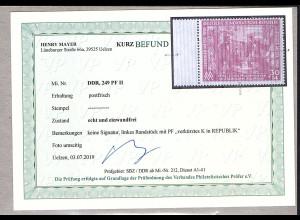 DDR. Mi.-Nr. 249 II Postfrisch, Befund Mayer