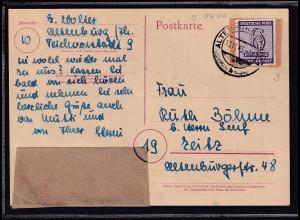 SBZ-West Sachsen, Fernkarte, mit EF, Mi.-Nr. 117 ya.sign. StröhBPP.