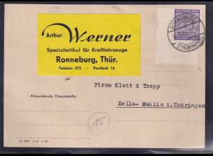 SBZ-West Sachsen, Fernkarte, mit EF, Mi.-Nr. 117 x , untere linke Eckrand.
